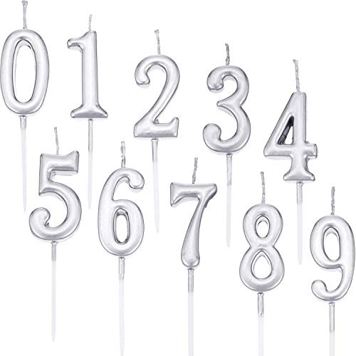 TOPHOUSE 10 Pieces Birthday Numeral Candles Cake Numeral Candles Number 0-9 Sliver Glitter Cake Topper Decoration for Birthday Party Favor