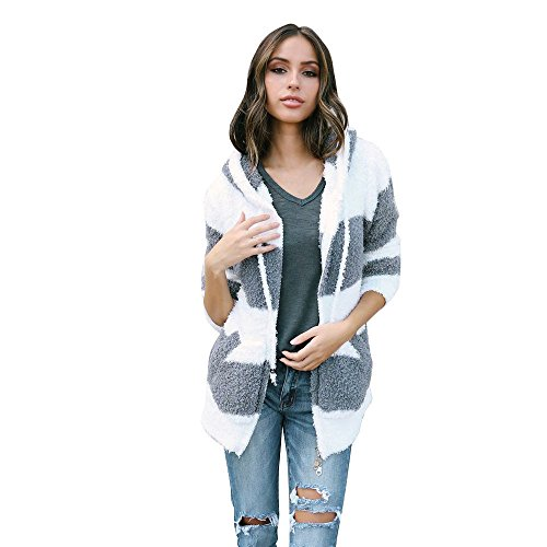 Shaggy Lined Hoody (Pengy Women Hoodie White and Gray Strip Coat Jacket Faux Fur Parka Outwear Cardigan Coat (White, S))