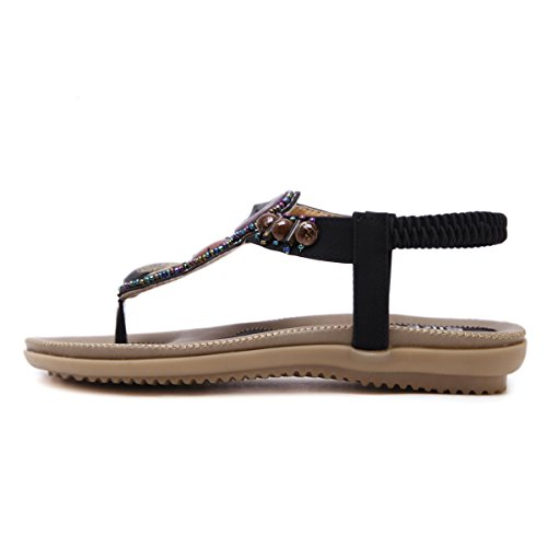 VFDB Women's Thong Flat Sandals T-Strap Summer Bohemian Rhinestone Slingback Beach Flip Flops Shoes Black US 7.5 by VFDB (Image #1)