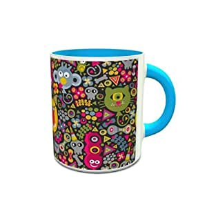 White and Blue Ceramic Mug with Cute Monsters Design 494
