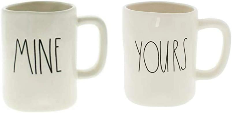 RAE DUNN by Magenta Artisan Collection Coffee Mug Set of 2 YOURS /& MINE  *NEW*