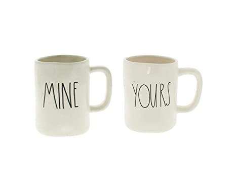 e36d72e92ea Rae Dunn MINE and YOURS Coffee Mug Set - Artisan Collection by Magenta  (Funny Cute Home Decor Husband Wife Couple Wedding Anniversary Gift Present)