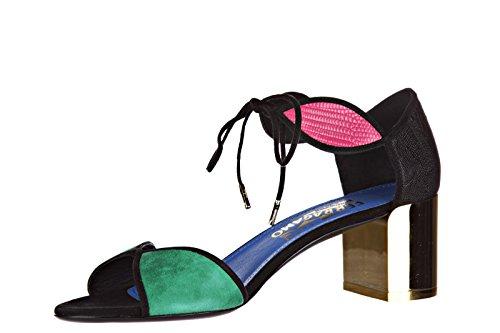 Salvatore Ferragamo sandales femme à talon en cuir fizzy noir EU 38 01L4696 44525