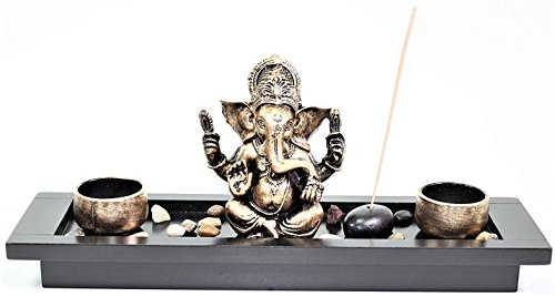Elephant Ganesha Zen Garden Rocks Incense Burner Candle Holder Home Decor Gift