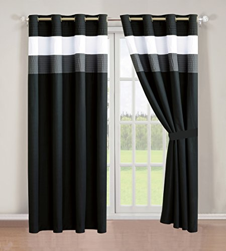 4 – Piece Grommet Regatta Black / Grey / White curtain set / Drapes / Window Panels 120″ Wide X 84″ Tall