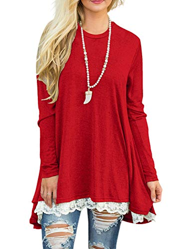 94c5b5ed5a1 Sanifer Women Lace Long Sleeve Tunic Top Blouse
