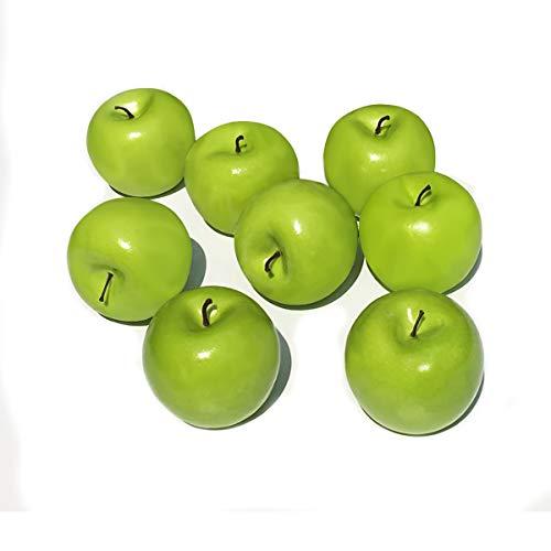COTOSEY 8pcs Fake Fruit House Kitchen Party Decoration Children Toys Artificial Lifelike Simulation Fruit (8pcs Green Apples)