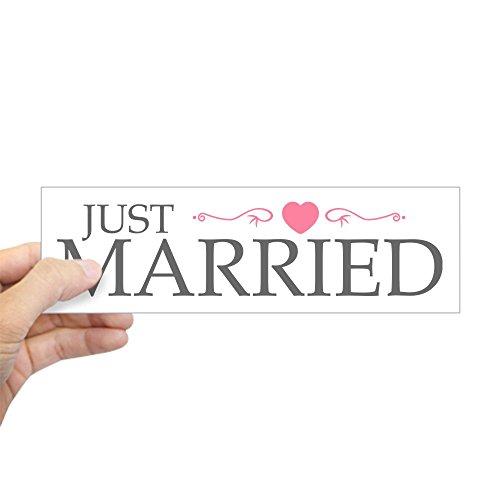 CafePress Just Married (Heart Scroll Pink) Bumper Sticker 10