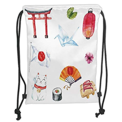 New Fashion Gym Drawstring Backpacks Bags,Japanese,Hand Drawn Traditional Elements Watercolors Torii Gate Origami Bird Flag Lacky Cat,Multicolor Soft Satin,Adjustable String Closu