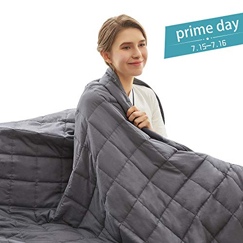 Weighted Idea Cooling Weighted Blanket 15 lbs Adults (48''x78'', Twin Size, 100% Natural Cotton, Grey) ()