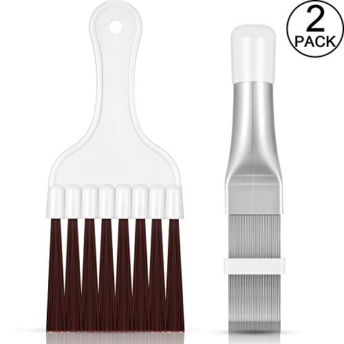 2 Pieces Air Conditioner Condenser Fin Comb, Fin Cleaning Brush Air Conditioner Fin Cleaner Refrigerator Coil Cleaning Whisk Brush Metal Fin Evaporator Radiator Repair Tool