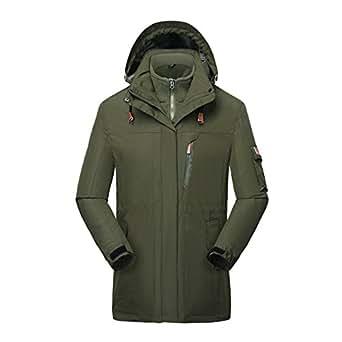 "HILEELANG Men's Mountain 3 in 1 Waterproof Insulated Ski Snow Interchange Jacket Rain Coat,US-M/Tag-2XL(5.7""/150lbs),Amygreen-mid-Length"