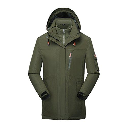 Men's Mountain 3 in 1 Waterproof Insulated Ski Snow Interchange Jacket Rain (Amy Insulated Jacket)