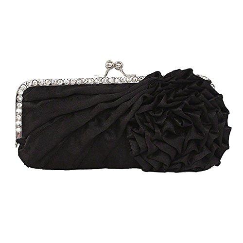 Pleated Silk Clutch (Womens Silk Pleated Satin Evening Handbag Floral Flower Clutch Bag with Rhinestone for Wedding Prom Party (Black))
