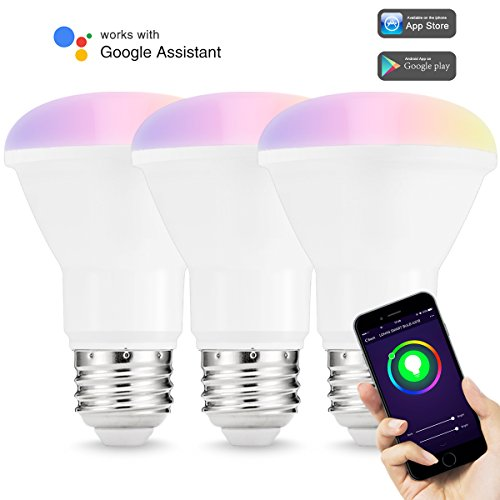 LOHAS Smart Bulb, WIFI Light Bulb LED, BR20 Smart LED Lamp Bulb, Multi Color Dimmable, Smart phone Control, Compatible with Alexa and Google Home, 3 Pack