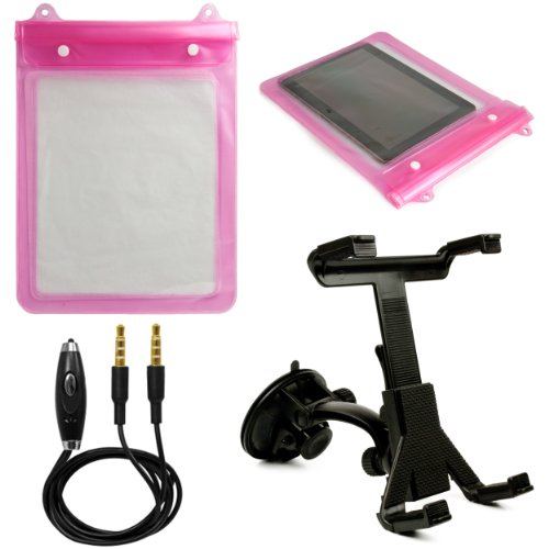 (Pink) VG Waterproof & Grime Resistant Sleeve Cover for Samsung Galaxy Tab 3 10.1 (W-Fi) Android Tablet (GT-P5210) + Universal Windshield Mount Holder + 3.5mm Stereo Auxiliary Audio Cable With Built In Microphone & on/off Switch - Freeze Resistant Pedestal