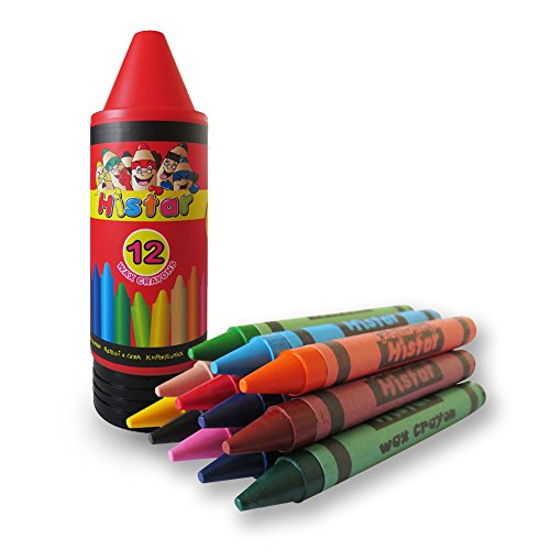 (Histar Wax Crayons Funny Washable Jumbo Crayons of 12 Colors, Cartoon Design, Gift for Kids)