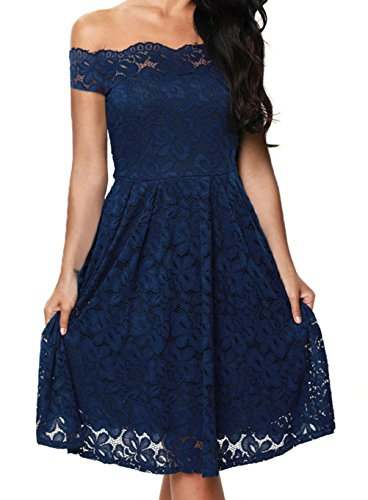yeeatz-women-blue-scalloped-off-shoulder-flared-lace-dress