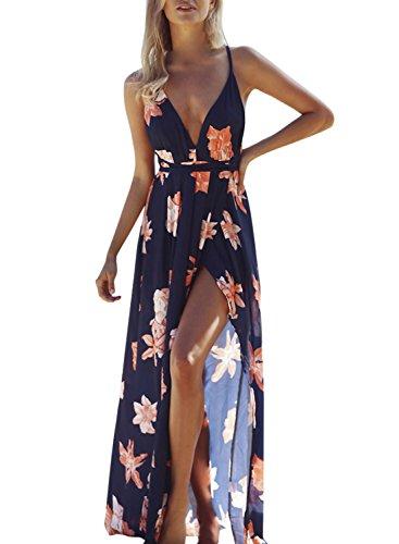 ACHICGIRL Mujer Maxi Vestido Estampado Floral Cuello V Profundo con Correa Fina Azul Profundo