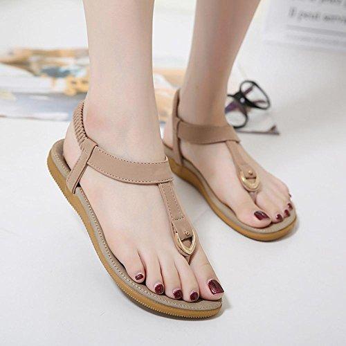 zapatos de hebilla sandalias cómodas sandalias grandes de tamaño nacional de viento Pink