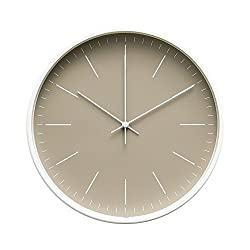 Arospa Contemporary Interior Design Minimalist Palette 12 Silent Non-Ticking Sweep Wall Clock with White Gloss Frame (Sandalwood)