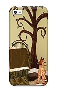 High Quality Neutral Green Safari Nursery With Tree Mural On Wall Case For Iphone 5c / Perfect Case