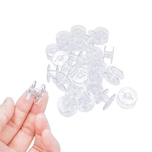 100 Pieces Plastic Sewing Bobbins Sewing Machine Bobbins with Case and Sewing Thread for Brother Singer Babylock Janome Kenmore (Transparent)