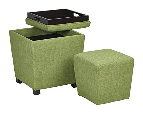 OSP Designs Metro Fabric 2-Piece Storage Ottoman Nesting Cube Set with Dark Espresso Finished Feet, Milford Grass (Ottoman Stackable)