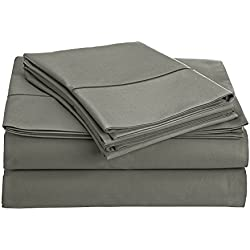 Chateau Home Collection 800-Thread-Count Egyptian Cotton Deep Pocket Sateen Weave Queen Sheet Set, Charcoal