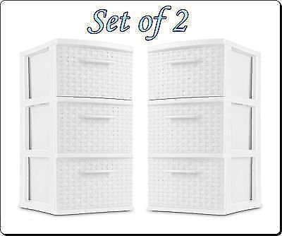Phantomx 3 Drawer Plastic Storage Weave Cart Set of 2 Home Office Dorm Organizer White