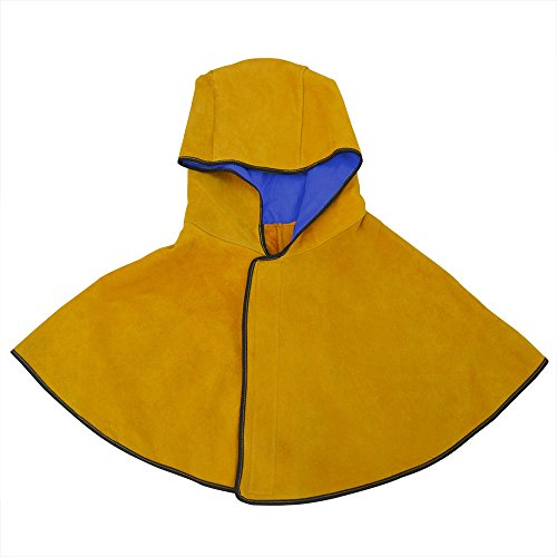 NUZAMAS Welding Hood Cowhide Split Leather Hood with Neck Shoulder Drape Protective Cover