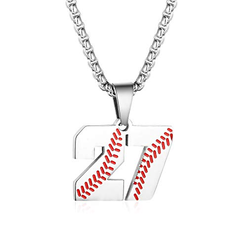 Sports Number Necklace (TLIWWF Inspiration Baseball Jersey Number Necklace Stainless Steel Charms Number Pendant for Boys Men)