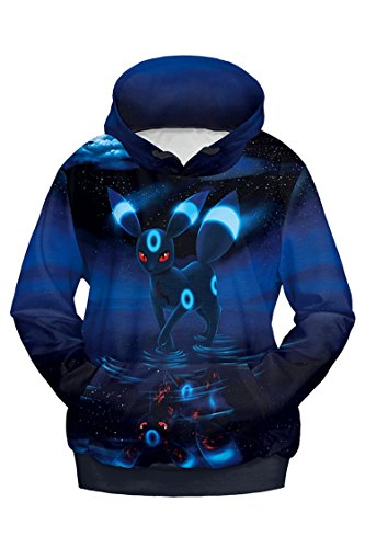 (Cutiefox Womens Unisex Pokemon Umbreon Print Pullover Hoodie Sweatshirt Blue)