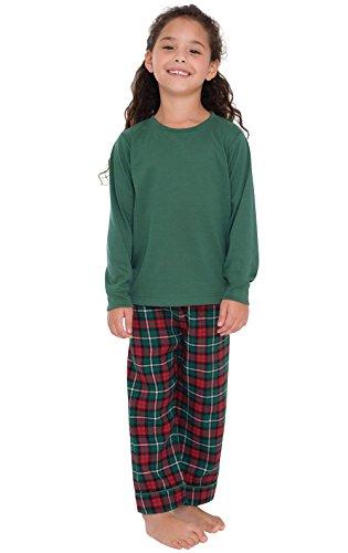 PajamaGram Big Girls Flannel Classic Plaid Pajamas Long-Sleeved Top