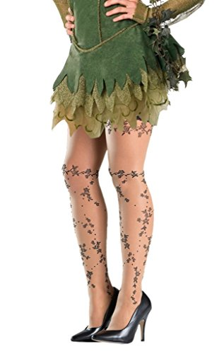 Costume Adventure Nude and Black Poison Ivy Flower Vine Thigh High (Black Ivy Costume)