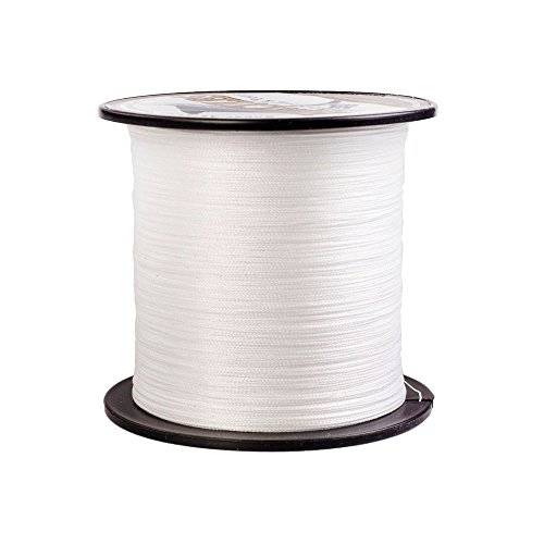 HERCULES Super Strong 500M 547 Yards Braided Fishing Line 8 LB Test for Saltwater Freshwater PE Braid Fish Lines 4 Strands - White, 8LB (3.6KG), 0.10MM