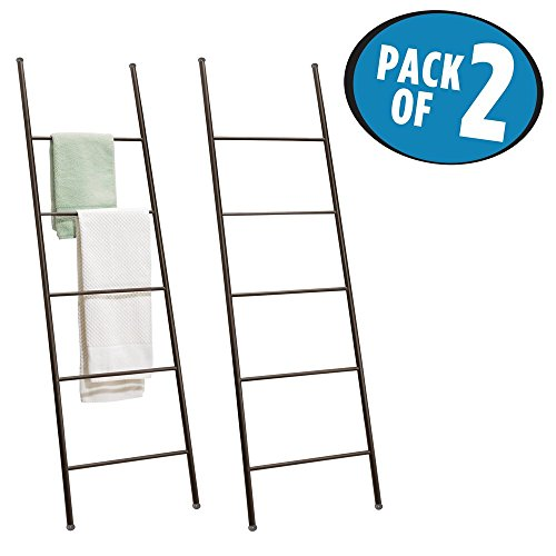 mDesign Free Standing Bath Towel Bar Storage Ladder - Pack of 2, Bronze (With Ladder Towel Shelf)
