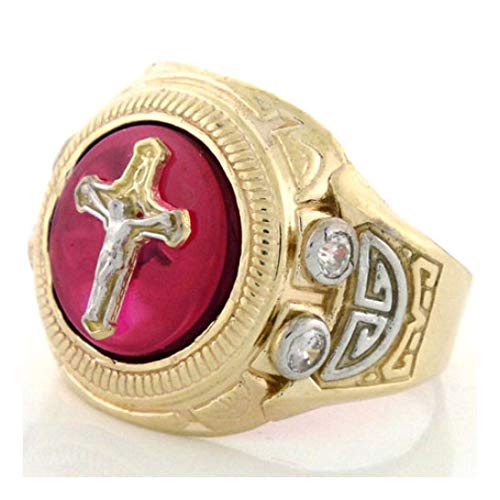 10k Gold Two-Tone Ruby Red Stone Cross Jesus Mens Ring (Style# 1922) - Size 7 ()