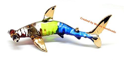 Handmade Green and Blue Hammerhead Shark Art Glass Blown Marine Sea Animal Figurine - Model 2018 ()