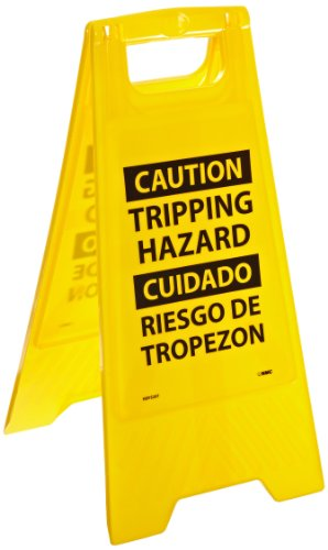 NMC HDFS207 Bilingual Heavy Duty Floor Stand Sign, Legend ''CAUTION TRIPPING HAZARD'', 10-3/4'' Length x 24-5/8'' Height, Black on Yellow by NMC (Image #1)