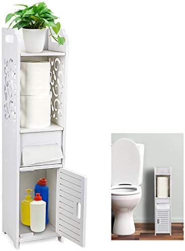Gotega Small Bathroom Storage Toilet Paper Storage Corner Floor Cabinet With Doors And Shelves Hollow Carved Design Bathroom Organizer Furniture Corner Shelf For Paper Shampoo White Buy Online At Best Price In