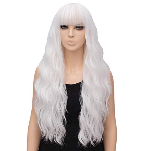 netgo Women's White Wig Long Curly Wavy Hair Wigs for Girl Heat Friendly Synthetic Party Wigs -