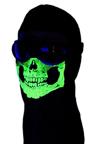 American Made Adult Glow In The Dark Skull Face Ghost Mask Black Ski Hood Large 100% Cotton Black Balaclava by My Skull Store (Image #2)
