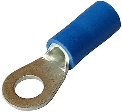 Aerzetix 100x Cosse /électrique /à oeil oeillet isol/ée M3 /Ø3.2mm 1-2.5mm2 bleues