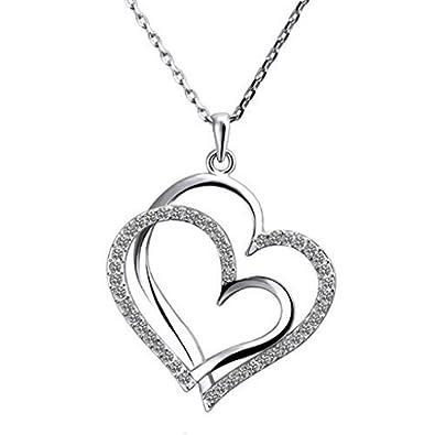collier femme 2 coeur