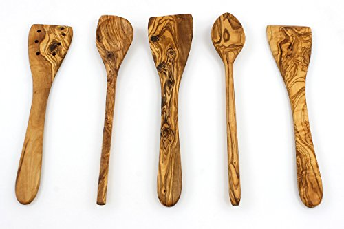 Flat Kitchen - Tramanto Olive Wood Spatulas, Turner and Spoons Cooking Utensil Set, 12 inches - Corner Spoon, Round Spoon, Curved Spatula, Flat Spatula and Slotted Spatula