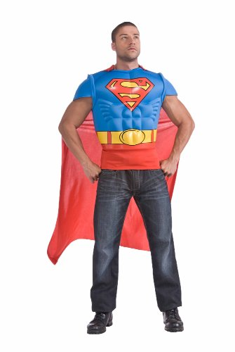 Authentic Man Of Steel Costume (Superman Muscle Chest Top with Cape, Red/Blue, Standard)