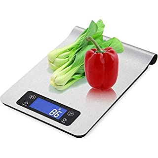 Tubc Food Scale High-Precision Stainless Steel Electronic Kitchen Scale 11Lb/5Kg Kitchen Electronic Scale LCD Liquid Crystal Display, Blue Backlit Screen Hanging Baking Electronic Scale 24×16.8×2.5Cm