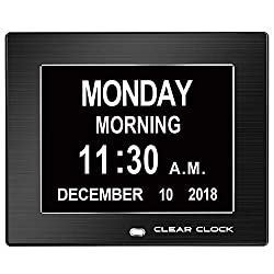 Clear Clock Extra Large Memory Loss Digital Day Clock Calendar 12 Alarms Perfect For Seniors Clock For Dementia Patients Impaired Vision Dementia Clock Elderly Alzheimers Clock Calendar (Black)