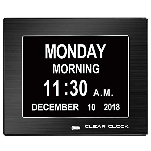 Clear Clock Extra Large Memory Loss Digital Day Clock Calendar 12 Alarms Perfect For Seniors Clock For Dementia Patients Impaired Vision Dementia Clock Elderly Alzheimers Clock Calendar Black